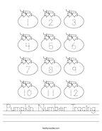 Pumpkin Number Tracing Handwriting Sheet