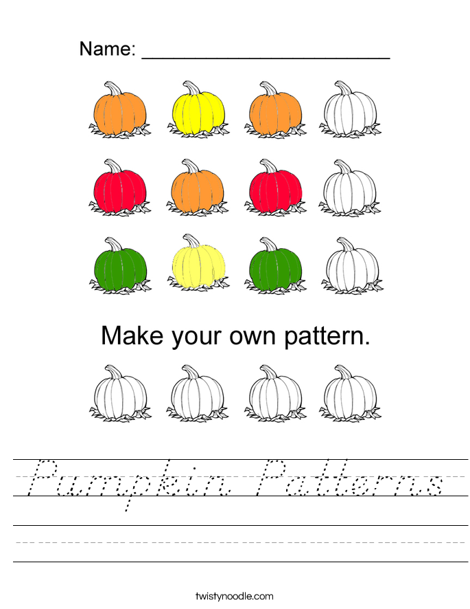 Pumpkin Patterns Worksheet