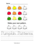 Pumpkin Patterns Handwriting Sheet