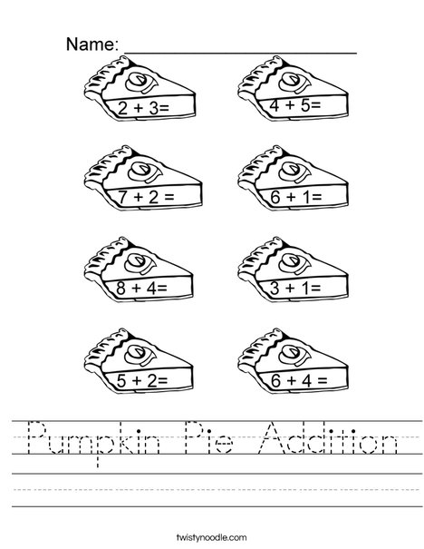 Pumpkin Pie Addtion Worksheet