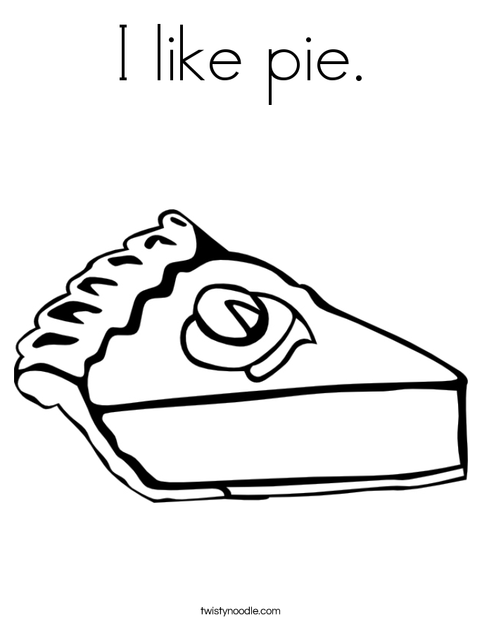 I like pie. Coloring Page