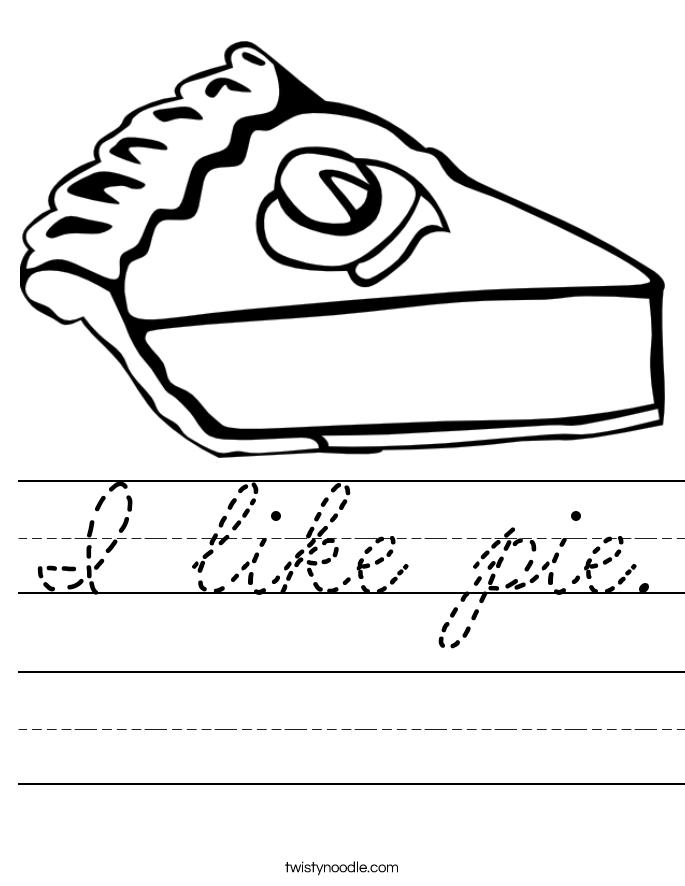 I like pie. Worksheet