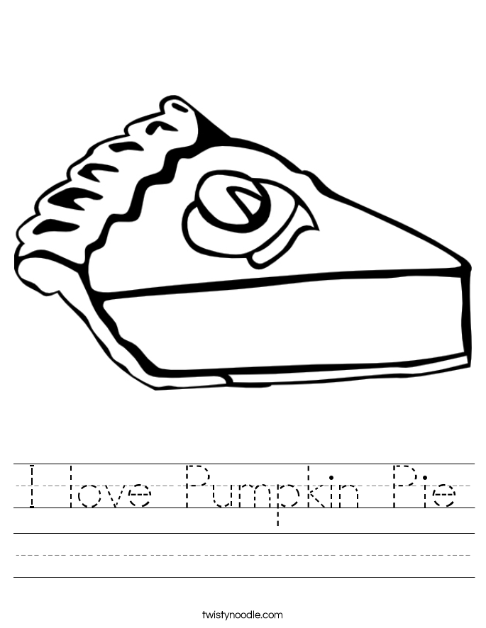 I love Pumpkin Pie Worksheet