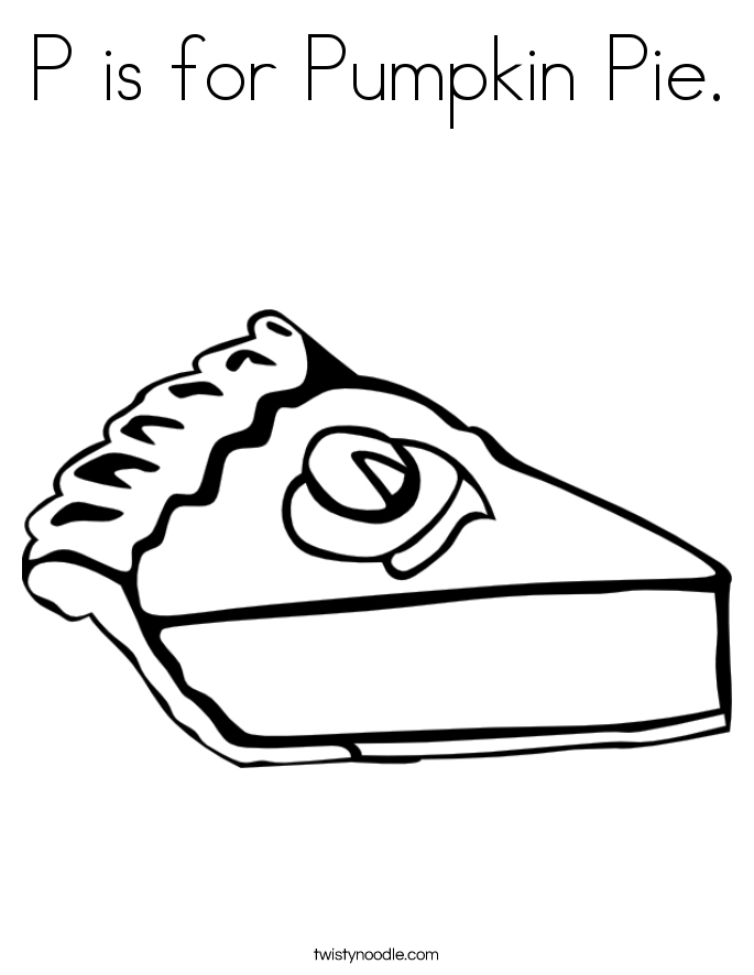 P is for Pumpkin Pie. Coloring Page
