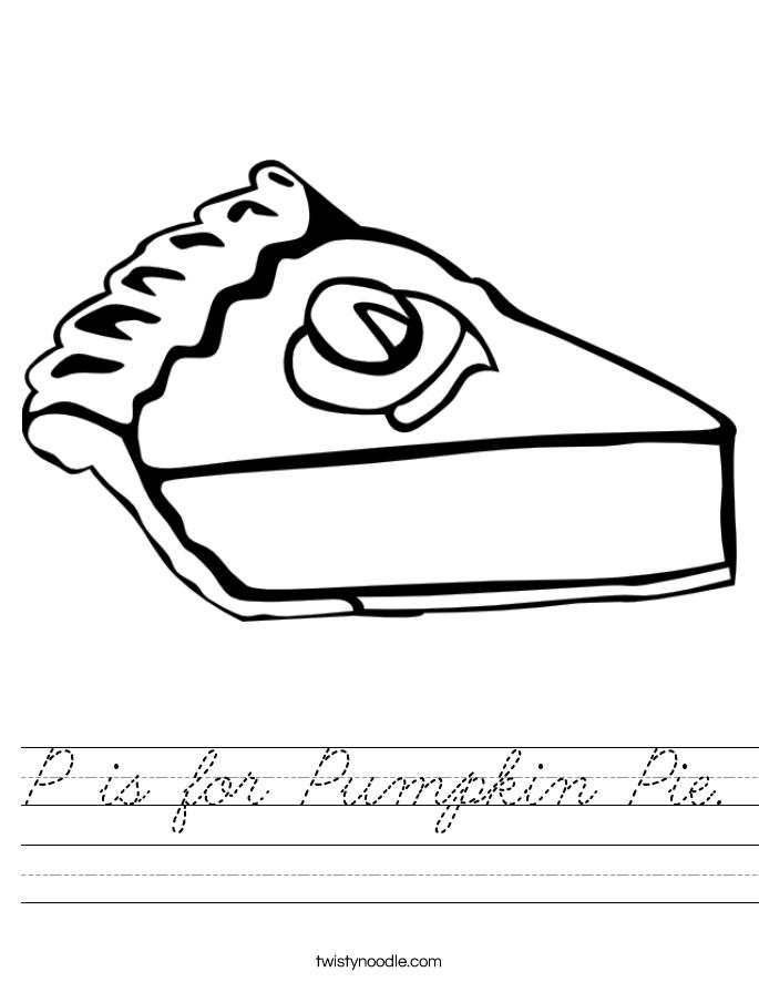 P is for Pumpkin Pie. Worksheet