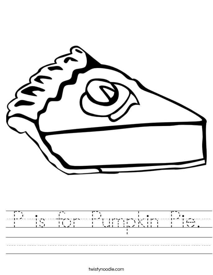 P is for Pumpkin Pie. Worksheet