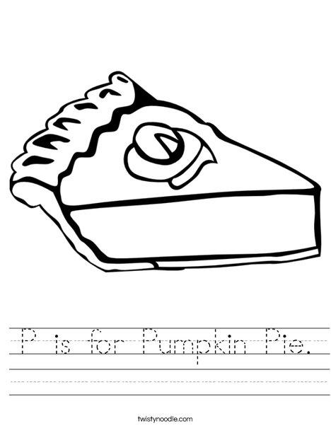 P Is For Pumpkin Pie Worksheet