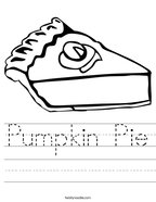 Pumpkin Pie Handwriting Sheet