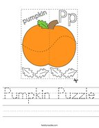 Pumpkin Puzzle Handwriting Sheet