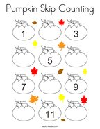Pumpkin Skip Counting Coloring Page