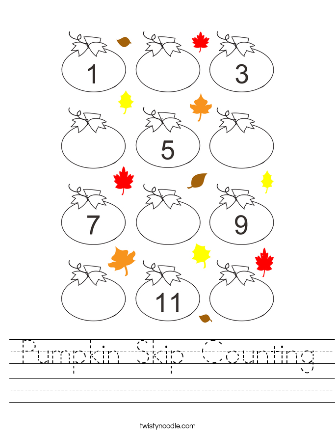 Pumpkin Skip Counting Worksheet