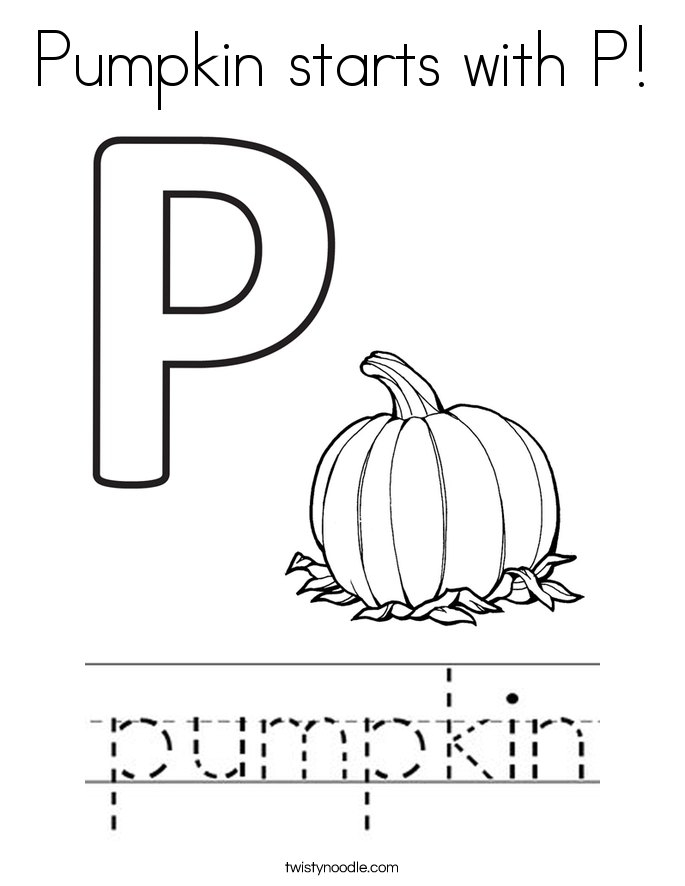 Pumpkin Starts With P Coloring Page