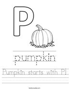 Pumpkin starts with P Handwriting Sheet