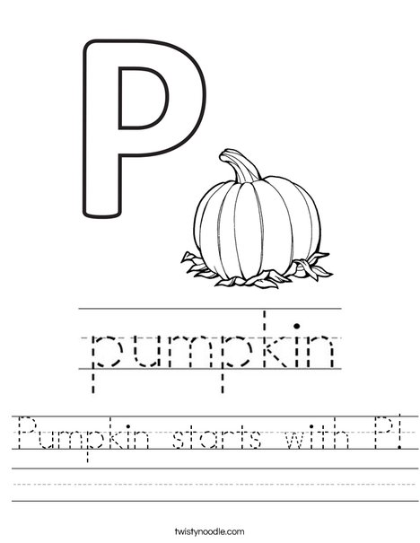 Pumpkin starts with P! Worksheet