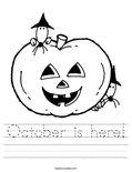 October is here! Worksheet