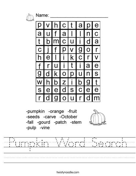 Pumpkin Word Search Worksheet