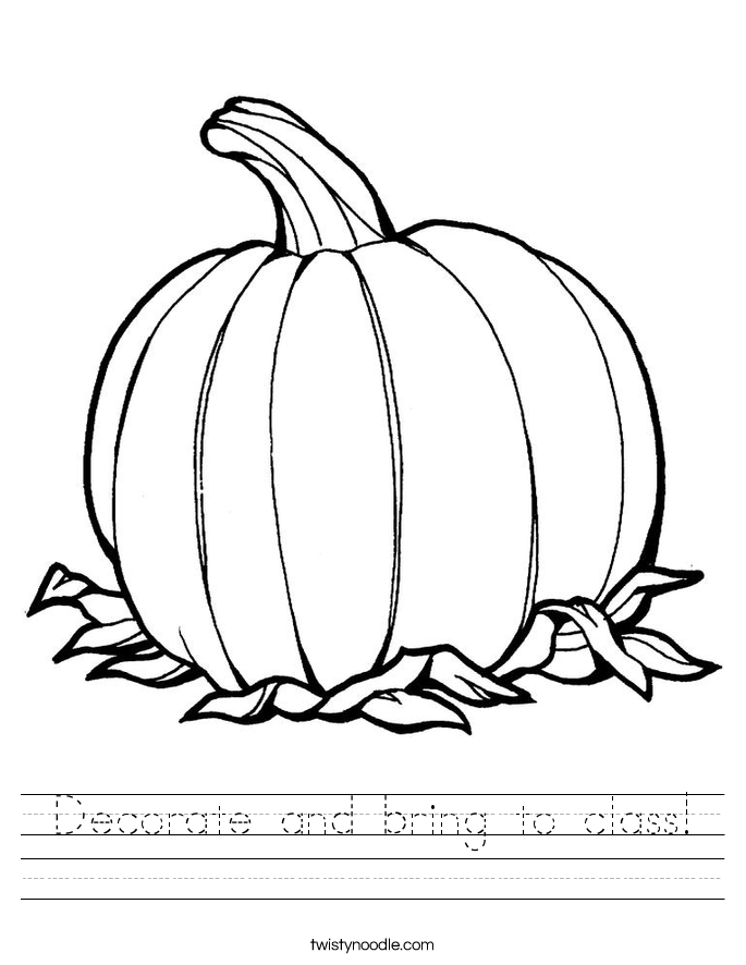 Decorate and bring to class! Worksheet