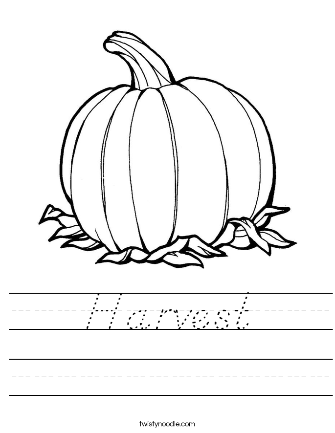 Harvest Worksheet