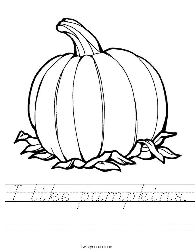 I like pumpkins. Worksheet