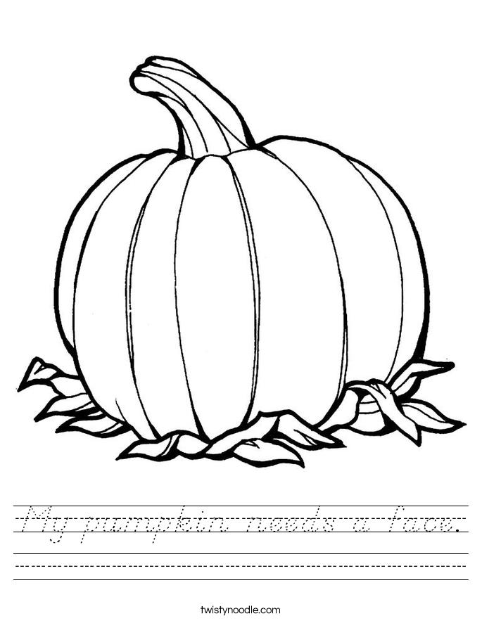 My pumpkin needs a face. Worksheet