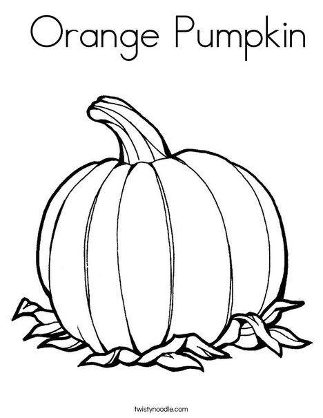 Orange pumpkin coloring page