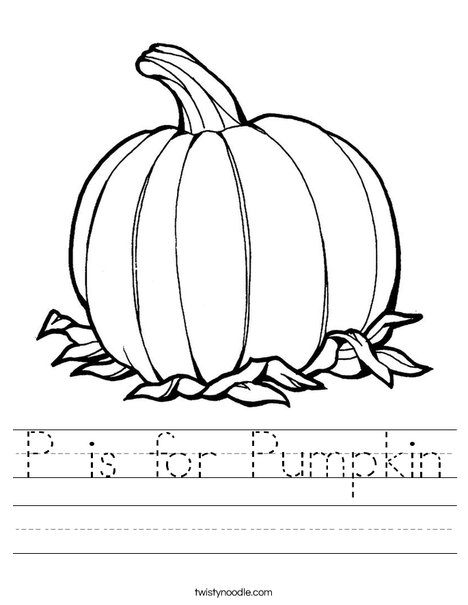 P Is For Pumpkin Worksheet