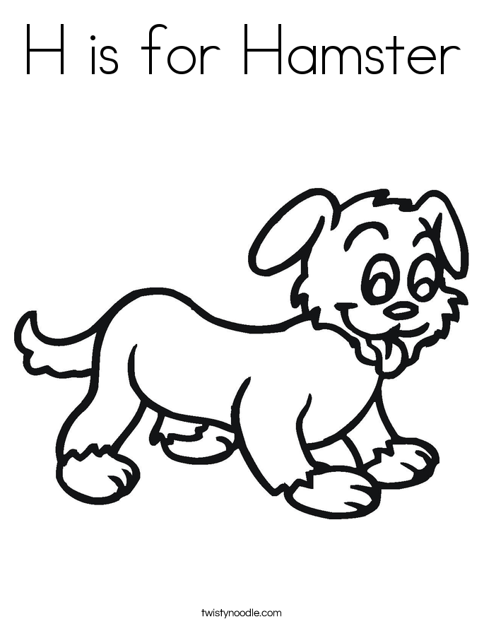 H is for Hamster Coloring Page