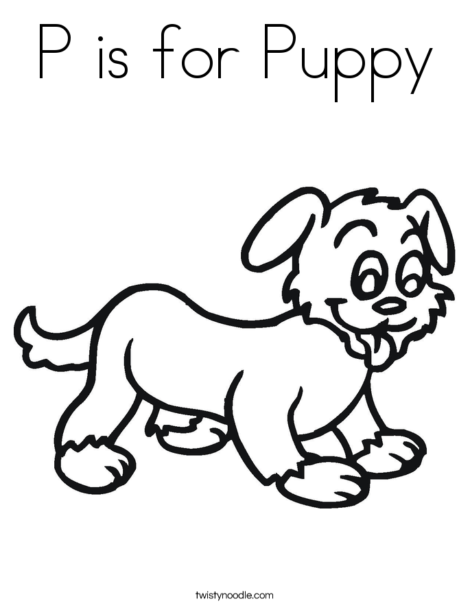 P is for Puppy Coloring Page