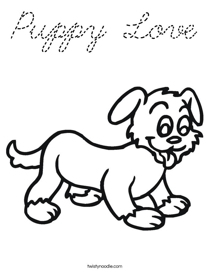 Puppy Love Coloring Page - Cursive - Twisty Noodle