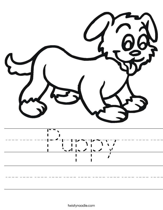 puppy worksheet twisty noodle. Black Bedroom Furniture Sets. Home Design Ideas
