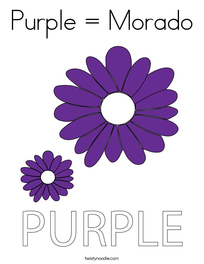 Purple = Morado Coloring Page
