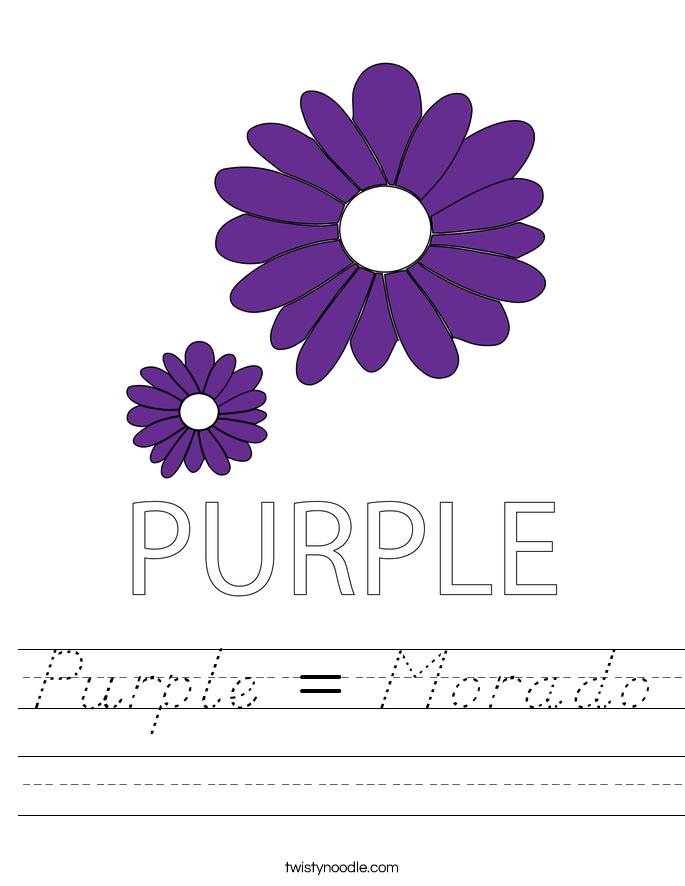 Purple = Morado Worksheet