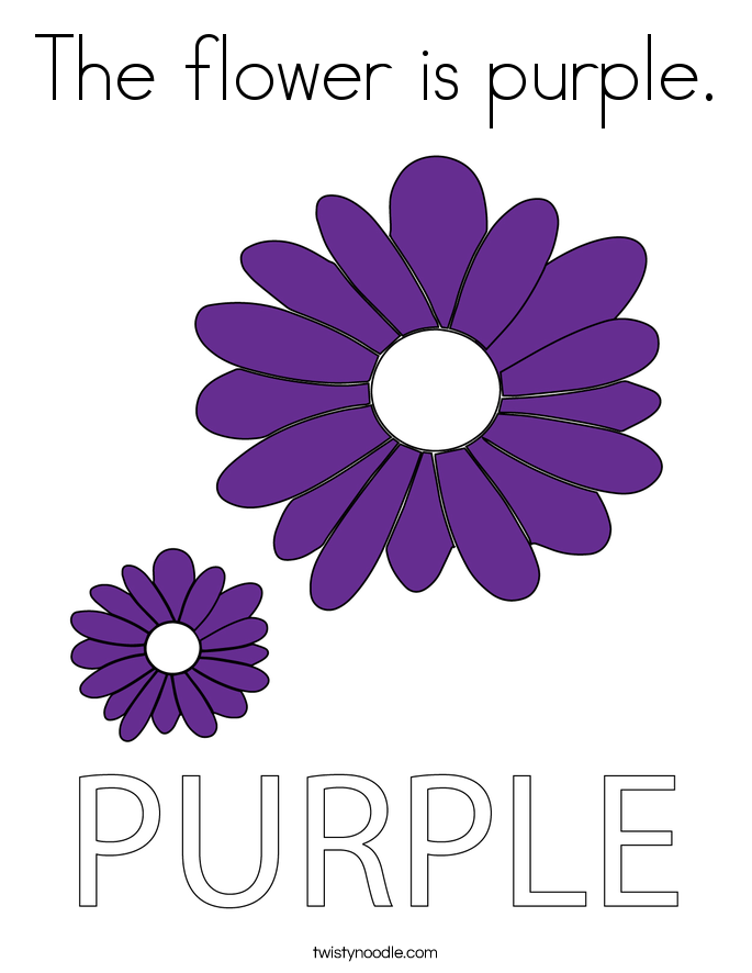 The flower is purple. Coloring Page