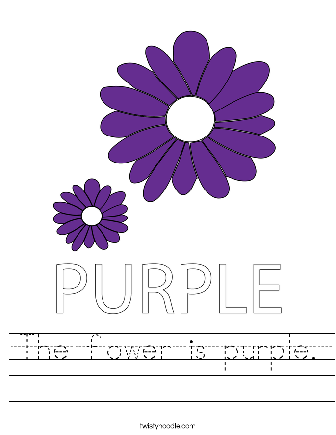 The flower is purple. Worksheet
