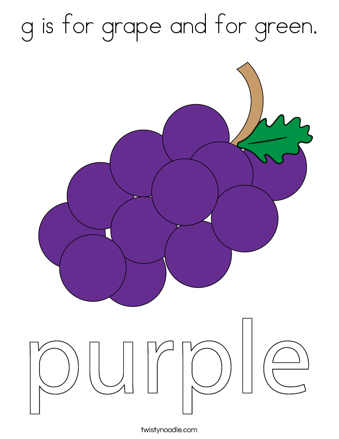 g is for grape and for green. Coloring Page