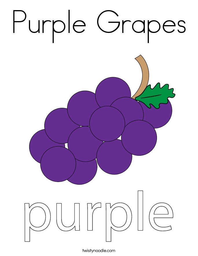 purple grapes coloring page - Color Purple Worksheets For Preschool