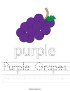 Purple Grapes Handwriting Sheet