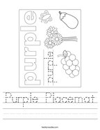 Purple Placemat Handwriting Sheet