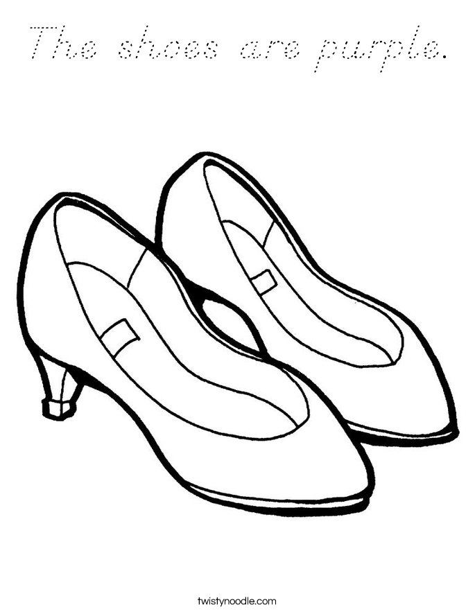 The shoes are purple. Coloring Page