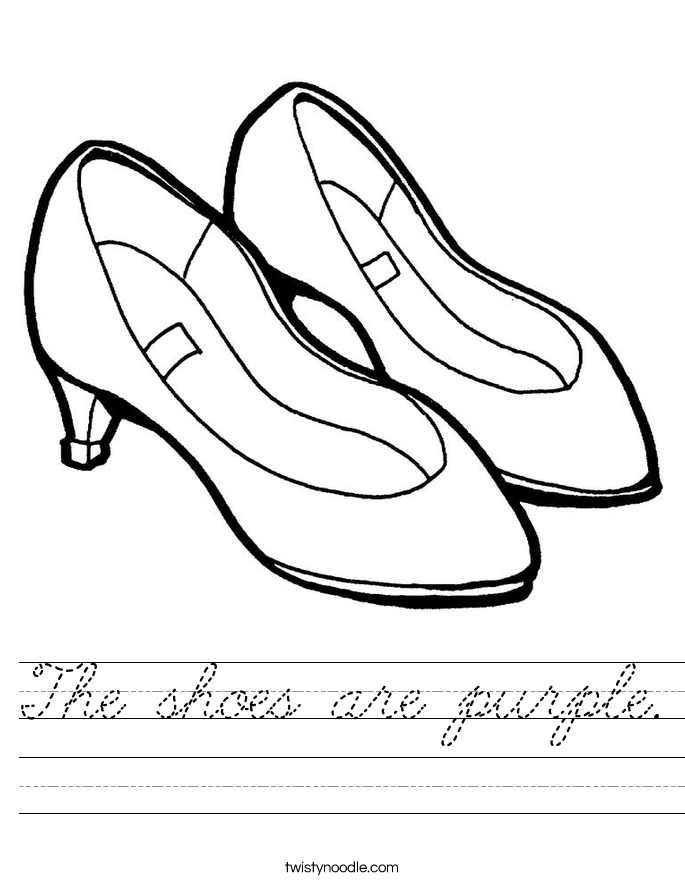 The shoes are purple. Worksheet
