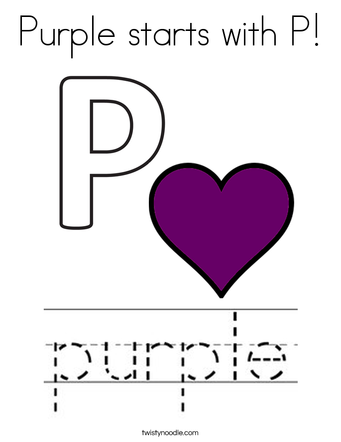 Purple starts with P! Coloring Page