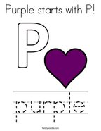 Purple starts with P Coloring Page