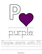 Purple starts with P Handwriting Sheet