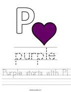 Purple starts with P Handwriting Sheet