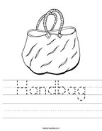 Handbag Handwriting Sheet