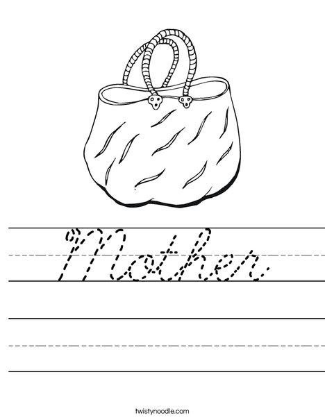 Handbag Worksheet