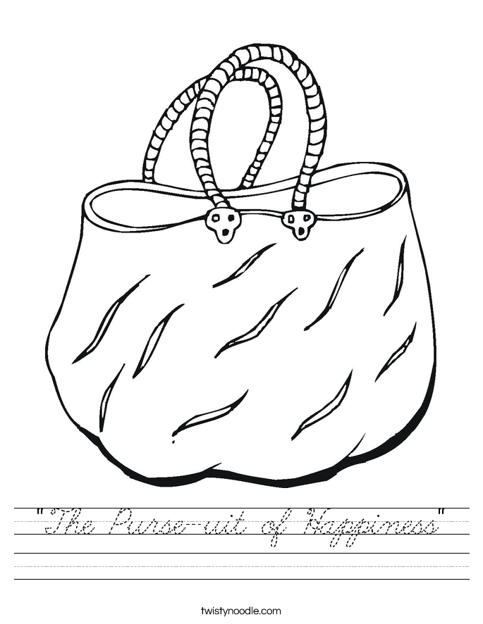 """""""The Purse-uit of Happiness"""" Worksheet"""