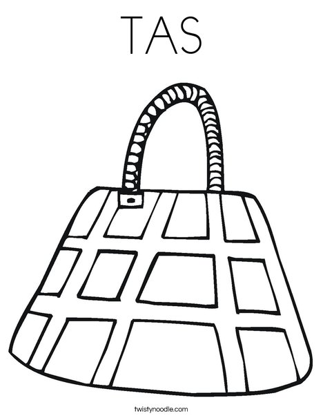 Purse with Checkered Pattern Coloring Page