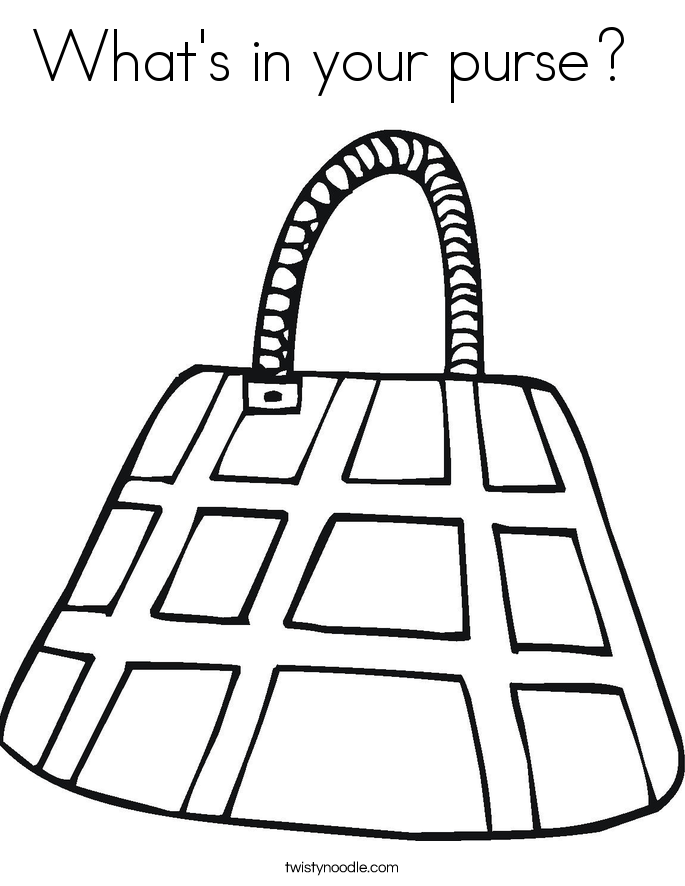 What's in your purse?  Coloring Page