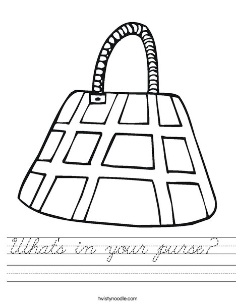Purse with Checkered Pattern Worksheet